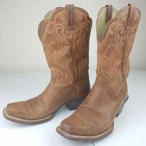 ARIAT Western Cowboy Boots Brown Leather